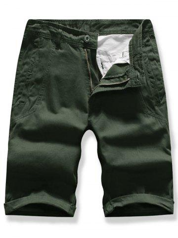 Solid Color Zipper Fly Cargo Shorts