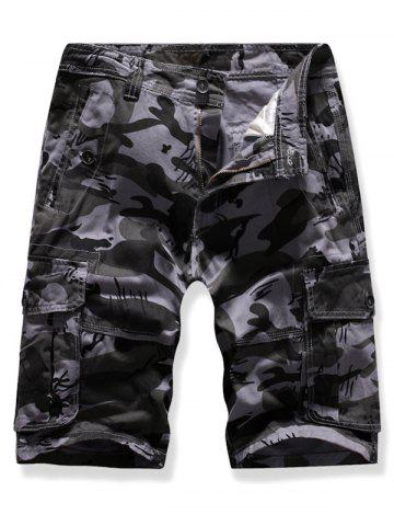 Pocket Decoration Camo Print Cargo Shorts