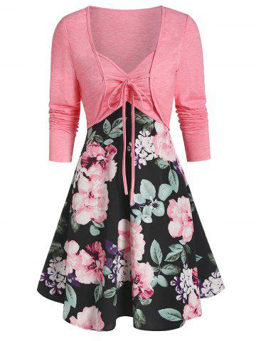 Sweetheart Collar Floral Print Dress with Tie T Shirt