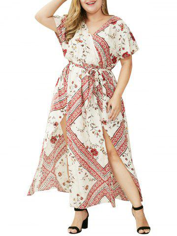 Plus Size V Neck Floral Print Double Slit Long Dress