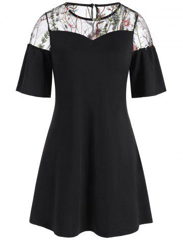 Floral Embroidered Mesh Insert Mini Dress