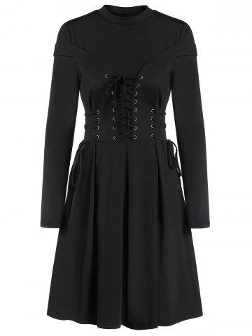 Long Sleeve Lace-up A Line Pleated Gothic Dress