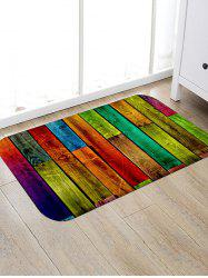 Colorful Color Spliced Wood Grain Rug -