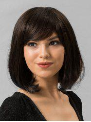 Human Hair Medium Side Bang Bob Straight Wig -
