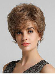 Fluffy Short Straight Side Bang Human Hair Wig -