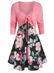 Sweetheart Collar Floral Print Dress with Tie T Shirt -