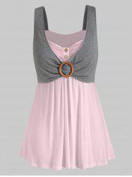 Plus Size Contrast Sweetheart Collar Button Tank Top -