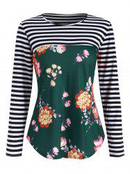 Floral Striped Lace Panel Button Embellished T-shirt -