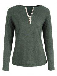 V Neck Long Sleeve Button Embellished T-shirt -