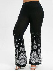 High Waisted Printed Plus Size Flare Pants -