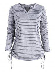 Heather Striped V Neck Cinched T-shirt -