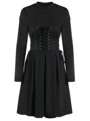 Long Sleeve Lace-up A Line Pleated Gothic Dress -