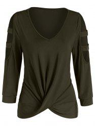 Cut Out Draped Solid T Shirt -