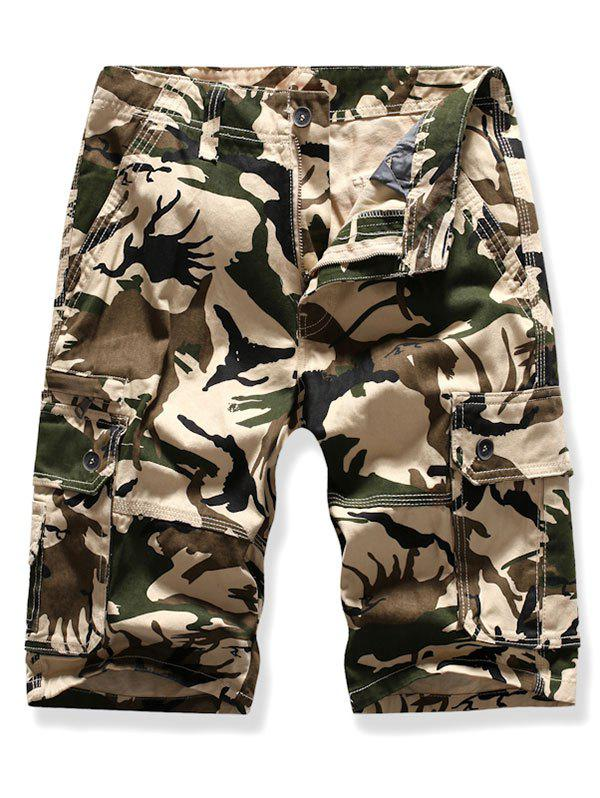 Casual Camouflage Printed Cargo Shorts, Warm white
