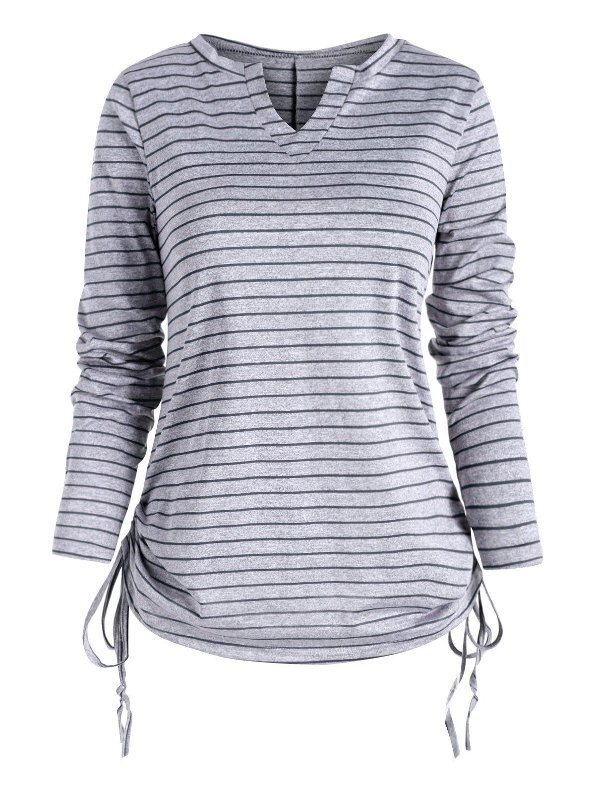 Best Heather Striped V Neck Cinched T-shirt