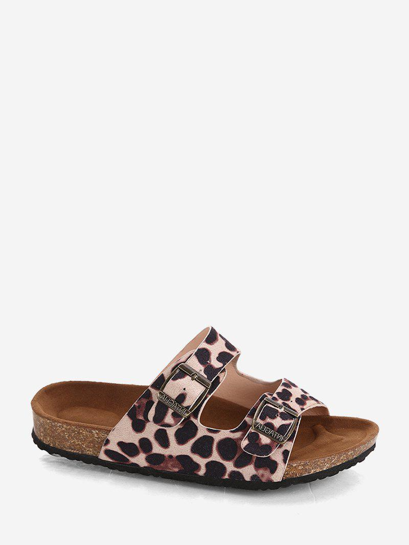 Hot Two Buckle Straps Leopard Slides Sandals