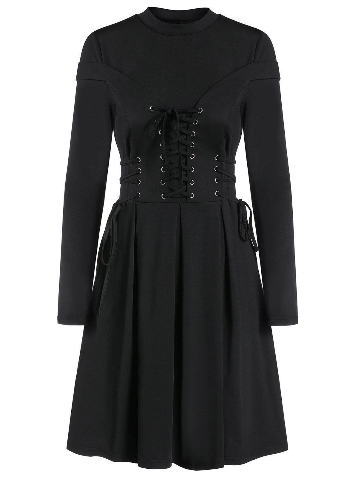 Store Long Sleeve Lace-up A Line Pleated Gothic Dress