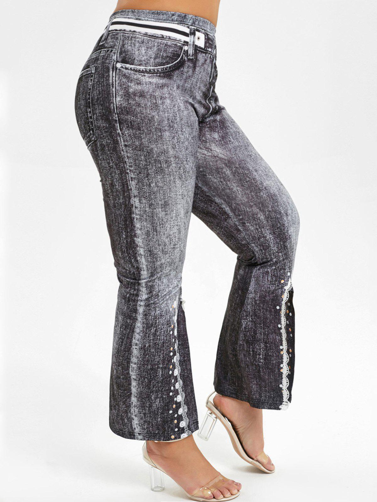 Sale Printed Slit Jeggings Plus Size Boot Cut Pants