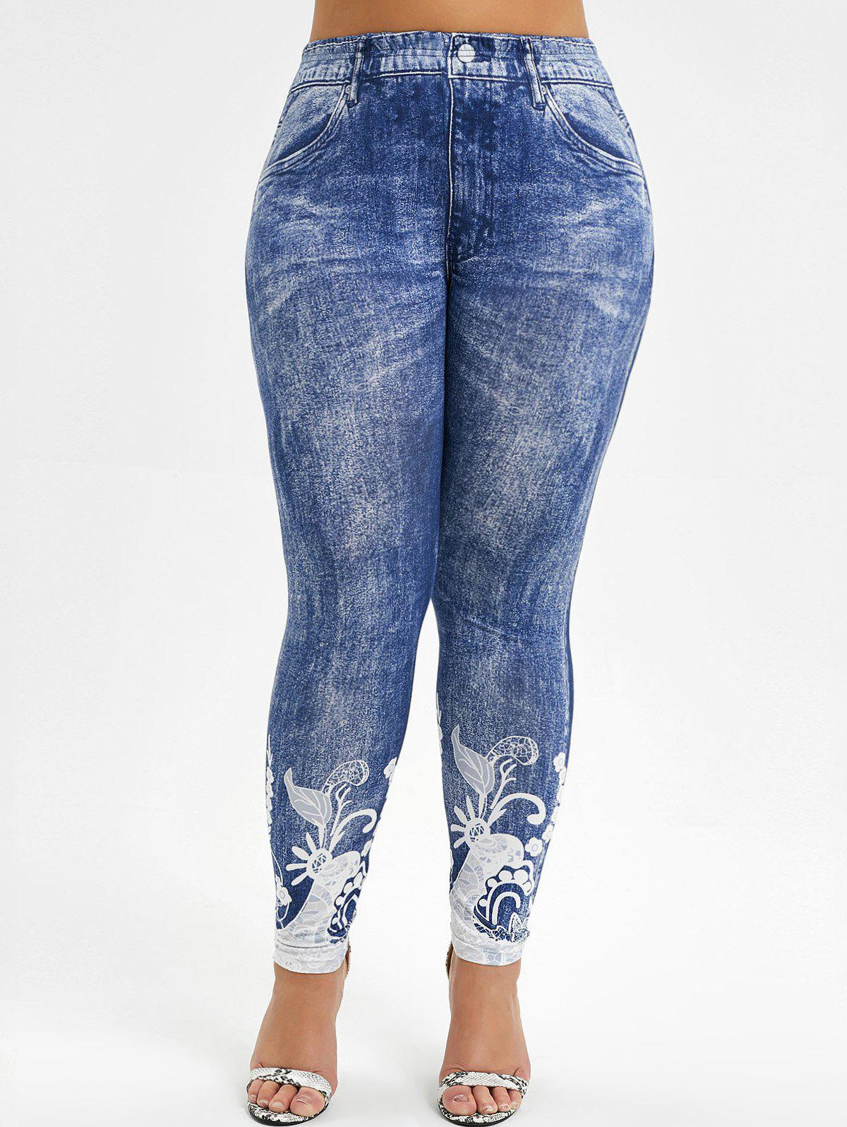 High Waisted Printed Plus Size Jeggings BLUE