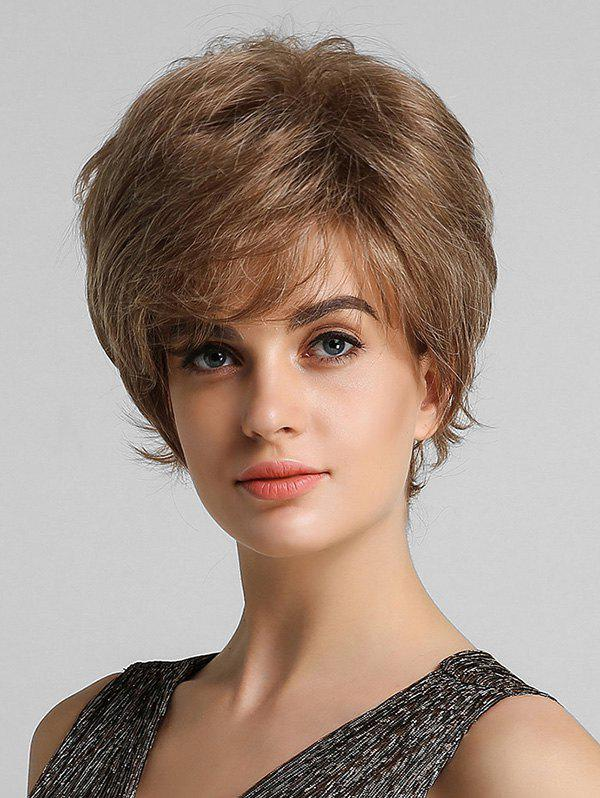 Outfit Fluffy Short Straight Side Bang Human Hair Wig