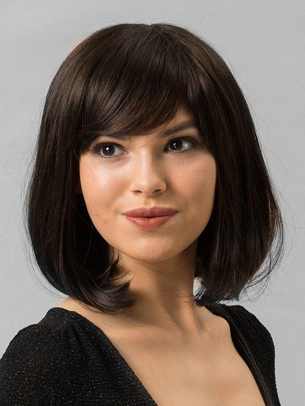 Online Human Hair Medium Side Bang Bob Straight Wig