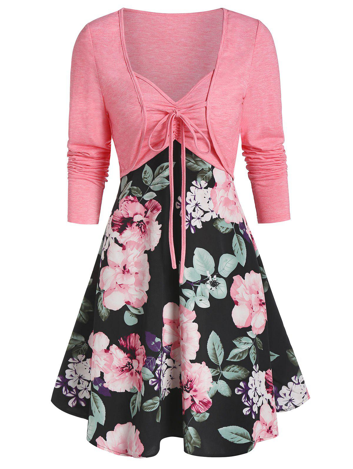 Hot Sweetheart Collar Floral Print Dress with Tie T Shirt