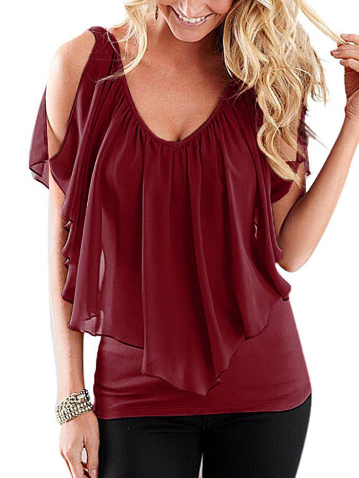Affordable V Neck Chiffon Flounce Cold Shoulder Top
