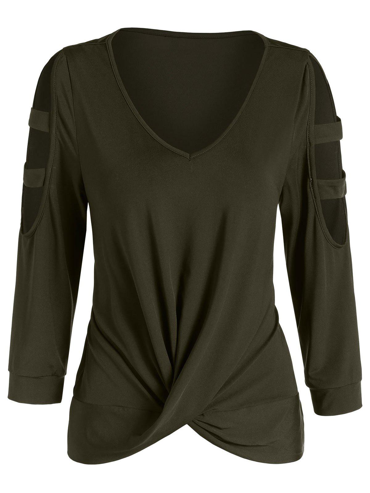 Affordable Cut Out Draped Solid T Shirt