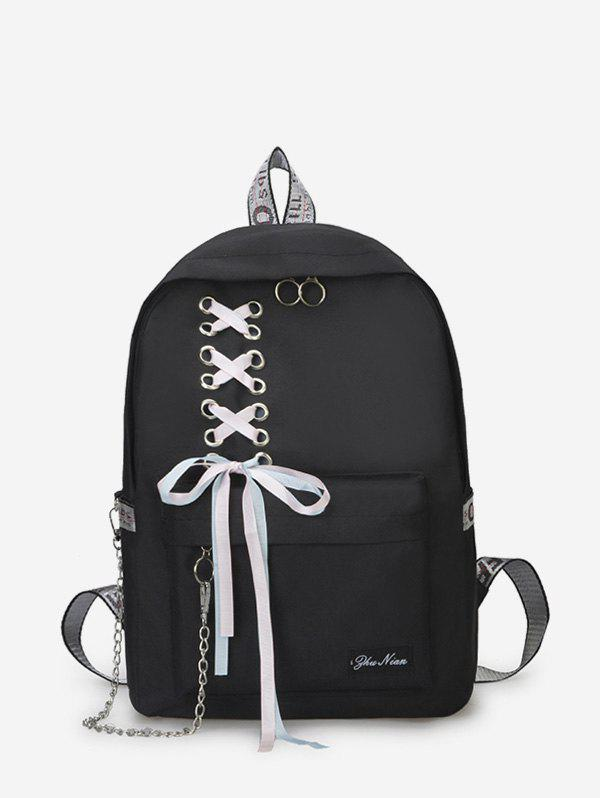 Shop Canvas Lace-up Bowknot Backpack