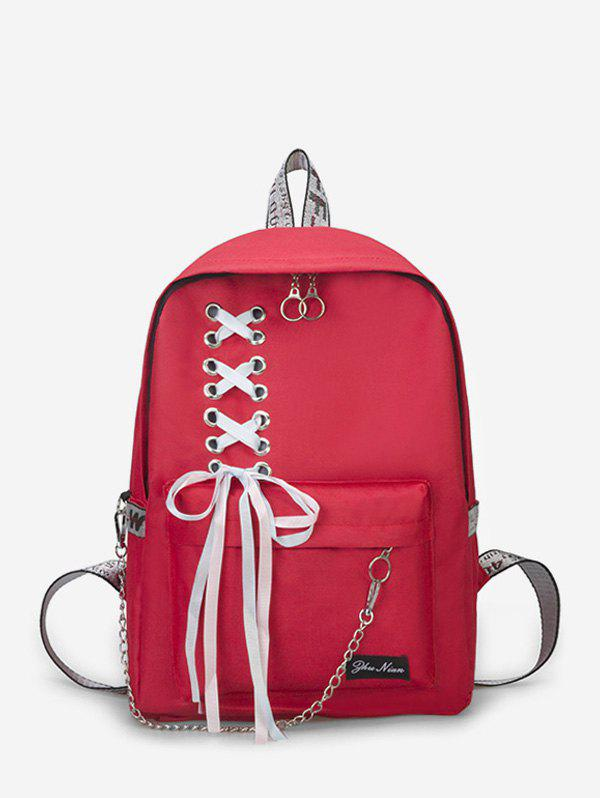 Outfit Canvas Lace-up Bowknot Backpack