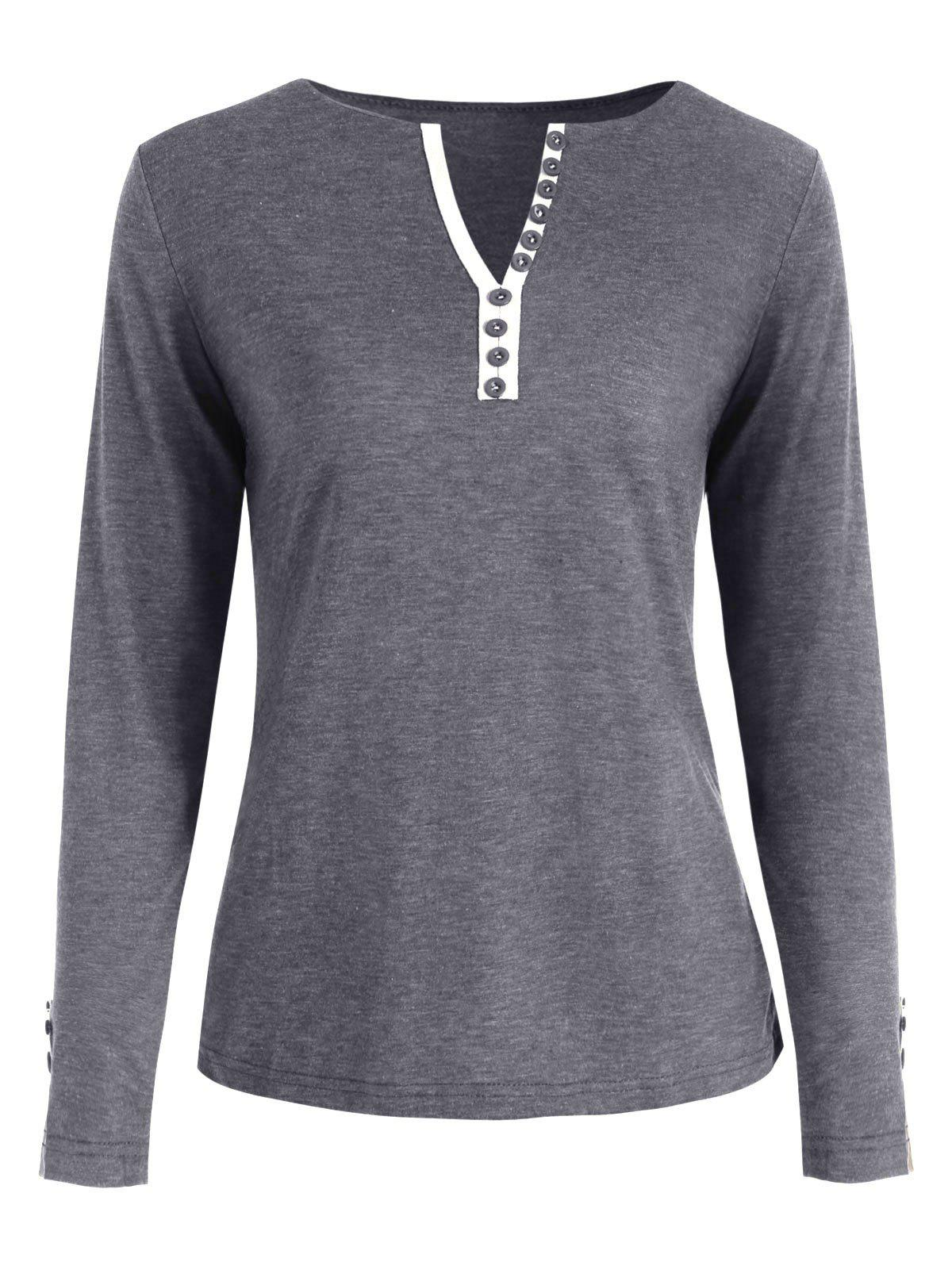 Chic V Neck Long Sleeve Button Embellished T-shirt