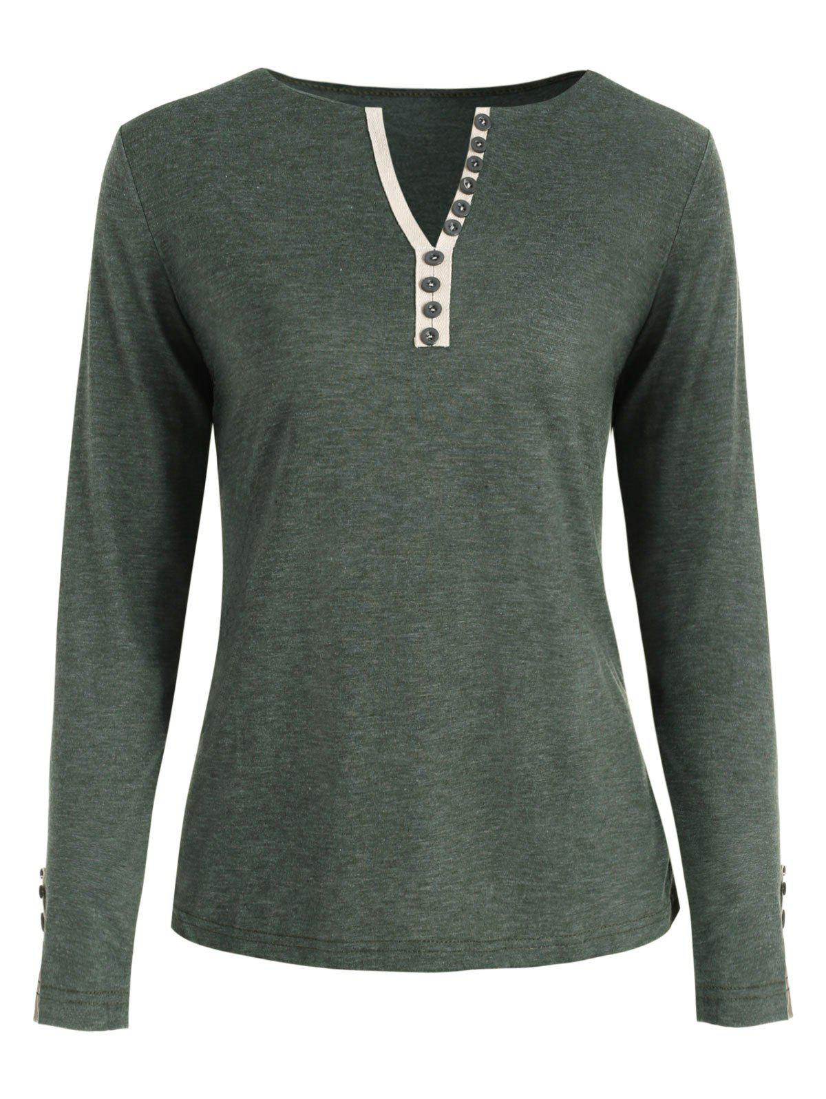 Unique V Neck Long Sleeve Button Embellished T-shirt