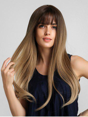 Synthetic Long See-through Bang Ombre Straight Wig