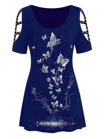 Butterfly | Metallic | Print | Plus | Size | Out | Cut | Tee