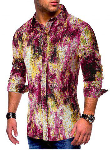 Colored Ink Painting Splatter Print Button Shirt