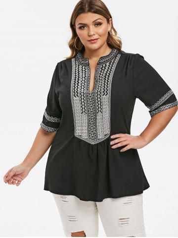 Ruched V Neck Embroidered Plus Size Blouse