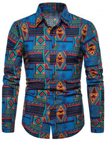 Ethnic Geometric Printed Long Sleeves Shirt