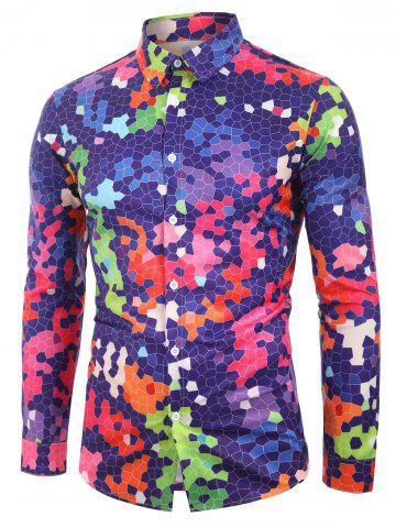 Color Spliced Printed Long Sleeves Shirt