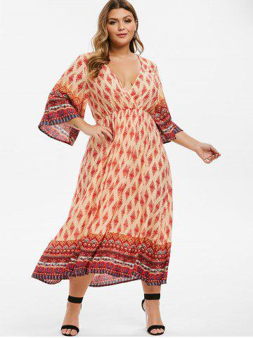 Plus Size Bohemian Printed Slit Surplice Dress