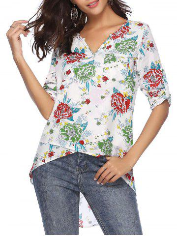 Roll Tab Sleeves Floral Print Pocket High Low Blouse