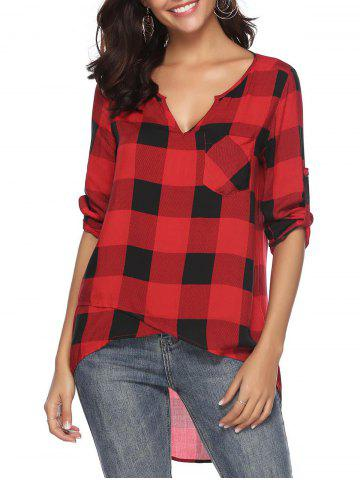 Roll Tab Sleeves Plaid Pocket Blouse
