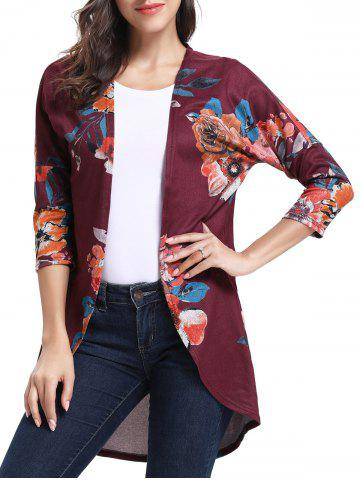 Floral Print Three Quarter Sleeves Open Blouse