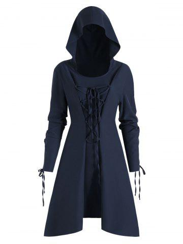 Skirted High Low Lace Up Pullover Plus Size Coat - CADETBLUE - 1X