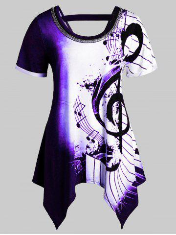 Plus Size Musical Notes Print Handkerchief Chains Embellished Tee - MULTI-E - 1X