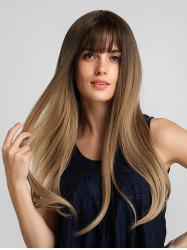Synthetic Long See-through Bang Ombre Straight Wig -