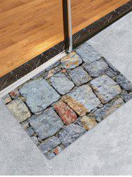 Stone Brick Wall Patterned Water Absorption Area Rug -