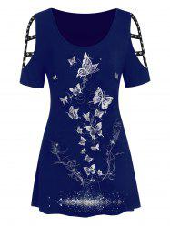 Plus Size Metallic Butterfly Print Cut Out Rivet Tee -