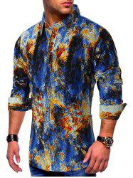 Colored Ink Painting Splatter Print Button Shirt -