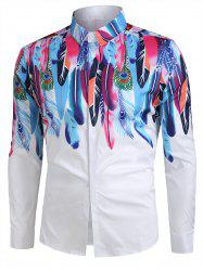 Feather Pattern Casual Long Sleeves Shirt -