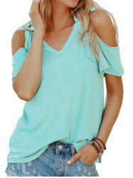 Tied Cold Shoulder Solid Tee -